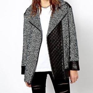 Oversized tweed moto jacket